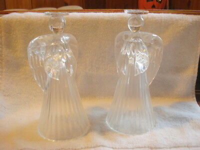 Avon Glowing Angel Crystal Candle Sticks New***