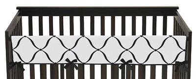 Black And White Princess Front Rail Guard Crib Cover Baby Teething Protector