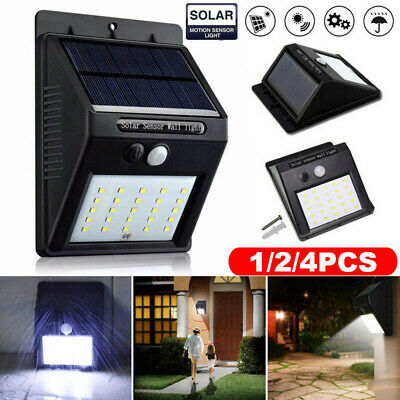 1/2/4x 20LED Solar Power PIR Motion Sensor Lights Outdoor Garden Wall Light Lamp