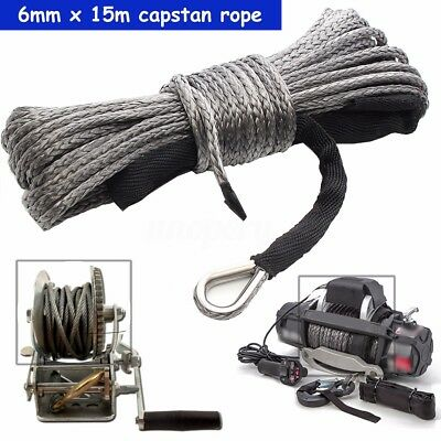 "1/4"" x 50' 7700LBs Synthetic Winch Line Cable Rope + Sheath For ATV UTV SUV Gray"