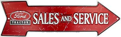 """Ford Tractor Sales and Service 20"""" x 6"""" Embossed Metal Arrow Sign"""
