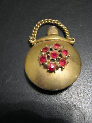 Very Rare Perfume Bottle - Tiny Purse Shaped Perfume Bottle - Red Stones