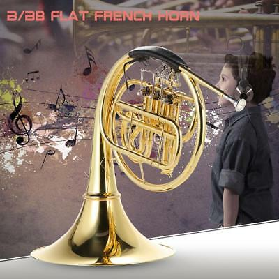 ammoon French Horn B/Bb Flat 3 Key Brass Gold Lacquer Single-Row Split Wind X7J4