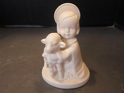 "VTG  GOEBEL NATIVITY FIGURINE JESUS W LAMB WHITE HJ19 W GERMANY 4"" LotA"