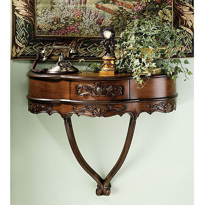 French Hand Carved Antique Wall Mounted Console Table with Drawer