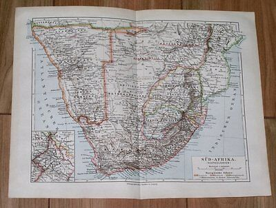 1899 Map Of South Africa / Boer Republics Transvaal Orange Free State