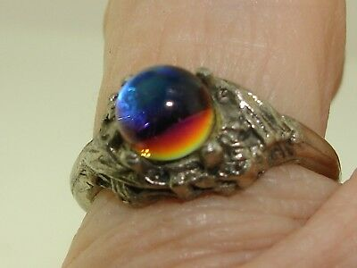Vintage Silver Iridescent Yellow, Blue & Pink Crystal Ball Ring! Sz 5 Unique