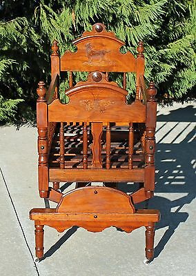 Fancy Victorian Walnut Rocking Platform Cradle Crib ~Butterfly & Sheep~c1875
