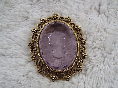 Goldtone Purple Intaglio Crystal Lady Cameo Pin (A67)