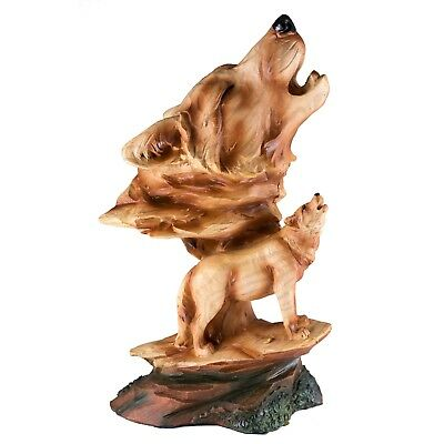 "Wolf Head Bust Carved Wood Look Figurine Resin 9"" High New In Box!"