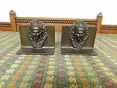 Vintage Pair of Cast Iron Bookends Native American Indian Head