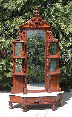 Gorgeous Victorian Heavily Carved Walnut Marble Top Etagere Bell Flowers c1870's
