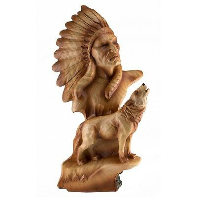 """Indian Native American With Wolf Carved Wood Look Figurine Resin 10.75"""" High NIB"""