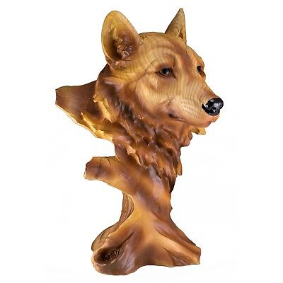 Wolf Head Bust Carved Wood Look Figurine Statue Resin 11.5 Inch High New In Box!
