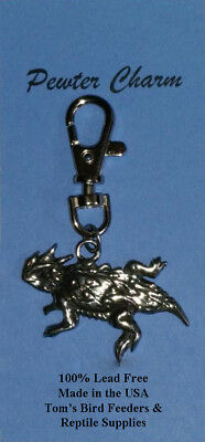 Horned Lizard Pewter Charm with Clip Lead Free Made in USA Horny Toad