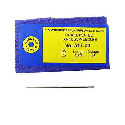 C.S. Osborne Pack Of 25 Harness Needles #517 (517-00) Size 00 Made In USA