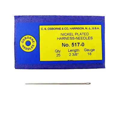 C.S. Osborne Pack Of 25 Harness Needles #517 (517-0) Size 0 Made In USA