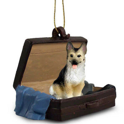 German Shepherd Black Tan Traveling Companion Dog Figurine In Suit Case Ornament