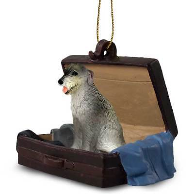 Irish Wolfhound Traveling Companion Dog Figurine In Suit Case Ornament
