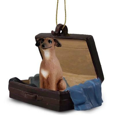 Italian Greyhound Traveling Companion Dog Figurine In Suit Case Ornament