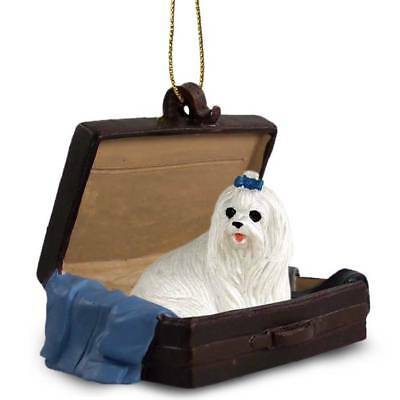Maltese Traveling Companion Dog Figurine In Suit Case Ornament