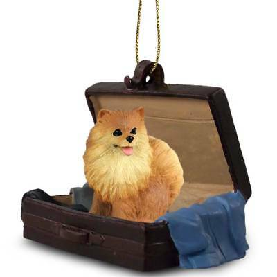 Pomeranian Red Traveling Companion Dog Figurine In SuitCase Ornament