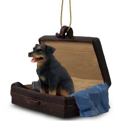 Rottweiler Traveling Companion Dog Figurine In Suit Case Ornament