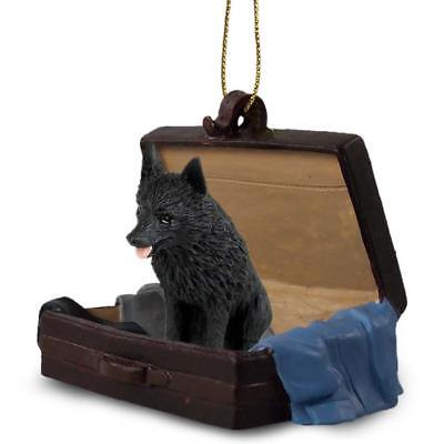 Schipperke Traveling Companion Dog Figurine In Suit Case Ornament
