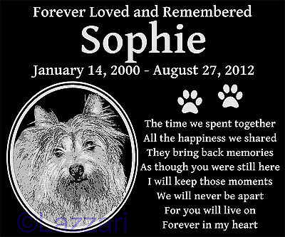 Personalized Cairn Terrier Dog Pet Memorial 12x10 Granite Grave Marker Headstone