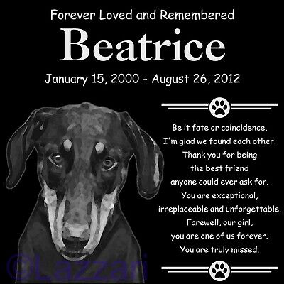 Personalized Natural Doberman Pinscher Pet Memorial 12x12 Headstone Grave Marker