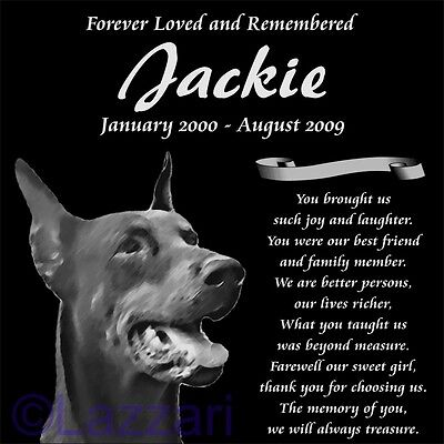 Personalized Doberman Pinscher Dog Pet Memorial 12x12 Custom Made Granite Marker
