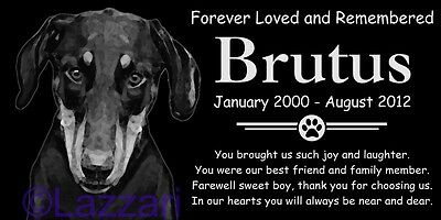 Personalized Natural Doberman Pinscher Pet Memorial 12x6 Headstone Grave Marker
