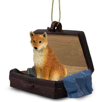 Shiba Inu Traveling Companion Dog Figurine In Suit Case Ornament