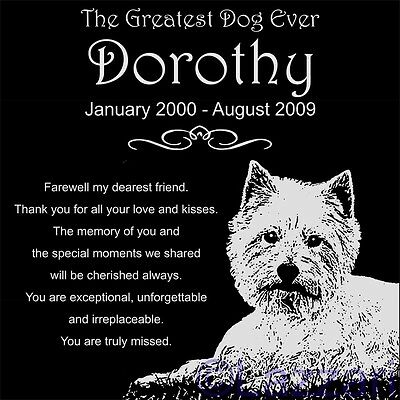"Personalized West Highland Terrier Dog Pet Memorial 12""x12"" Granite Grave Marker"
