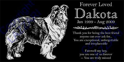 "Personalized Shetland Sheepdog Sheltie Pet Memorial 12""x6"" Granite Grave Marker"
