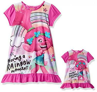 """Trolls Toddler Girls Nightgown W/Matching 18"""" Doll Gown Size 4 6 8 10 $38"""