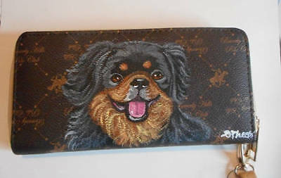 Tibetan Spaniel dog Hand Painted Designer Wallet for Women