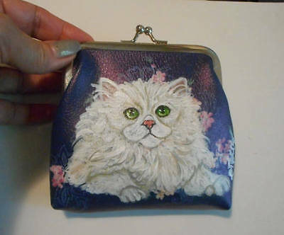 White Persian Cat Hand Painted Leather Coin Purse Vegan Mini Wallet