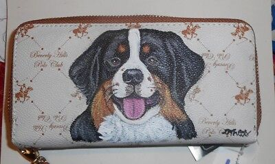 Bernese Mountain Dog Hand Painted Designer Leather Wallet for Women