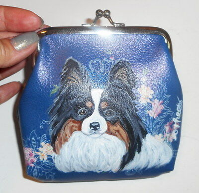 Papillon dog Hand Painted Leather Coin Purse Vegan Mini Wallet