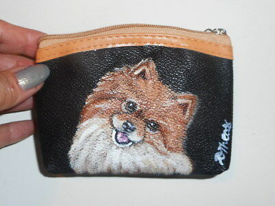 Red Pomeranian dog Hand Painted Leather Coin Purse