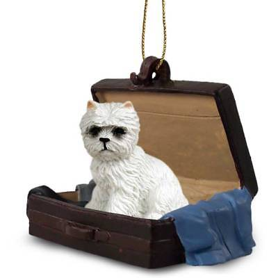 West Highland Terrier Traveling Companion Dog Figurine In Suit Case Ornament