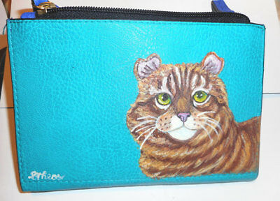American Curl Cat Hand Painted Designer Leather Wallet for Women