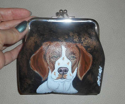 Brittany Spaniel dog Hand Painted Leather Coin Purse Vegan Mini wallet