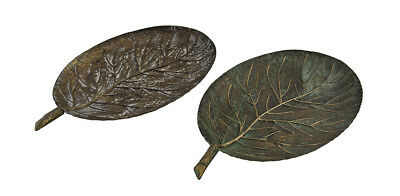 2 Piece Vintage Golden Finish Metal Leaf Shaped Tray or Wall Hanging Set