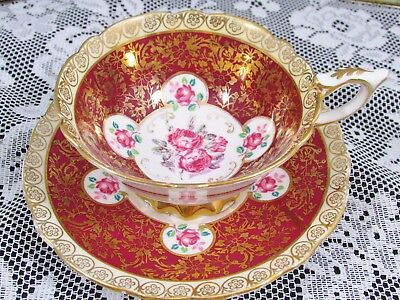 Royal Stafford Red Roses Gold Gilt Floral Chintz Tea Cup And Saucer