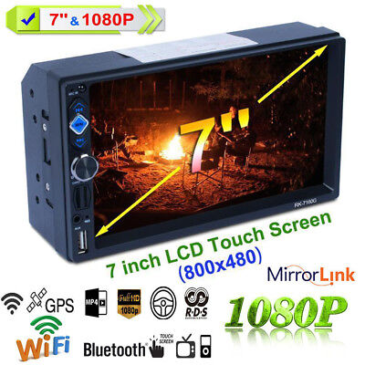 7'' Double 2 DIN 1080P HD Car Radio Video Stereo GPS Mirror Link for Android iOS