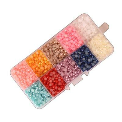 Flat Back Half Round Scrapbook ABS DIY 4/5/6/8mm Project Craft Beads with Box