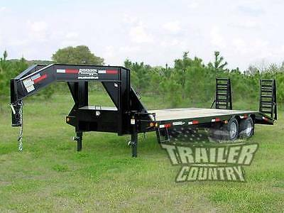 NEW 2018 29ft 10 - Ton Gooseneck Equipment Flat Bed Trailer w/ HD Pierced Frame