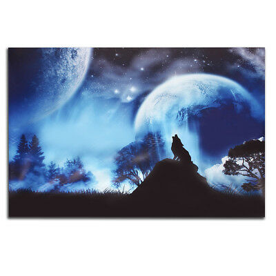 75x50cm Wolf Moon Modern Canvas Print Painting Picture Home Room Wall Art Decor